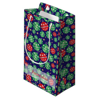 Christmas Ornaments on a Dark Blue Background Small Gift Bag
