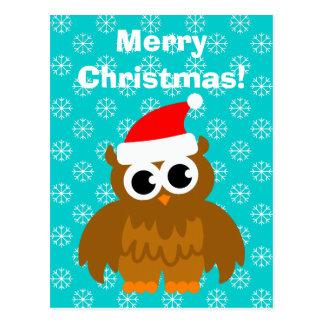 Christmas owl cartoon post cards