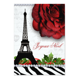 Christmas Paris Eiffel Tower Zebra Rose Flower 13 Cm X 18 Cm Invitation Card