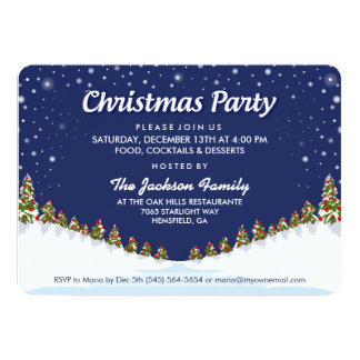 Christmas Party Christmas Snow & Trees Invitation