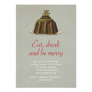 Christmas Party Eat Drink Be Merry Pudding Holiday Invitations