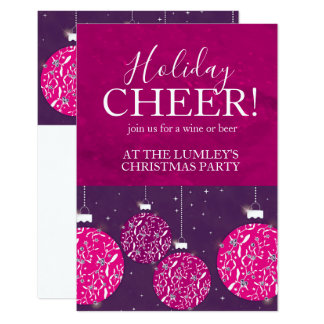 Christmas party holiday bauble pink invitations