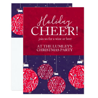 Christmas party holiday cheer bauble invitations