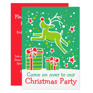 Christmas party invitation reindeer green red