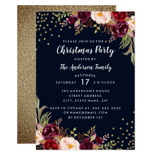 Christmas Party Navy Burgundy Gold Floral Invite
