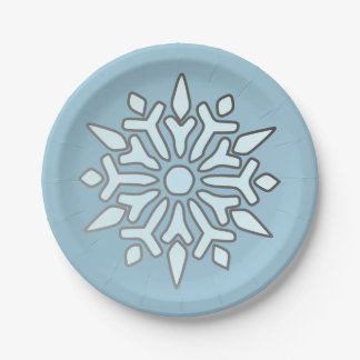 Christmas Party Paper Plate-Snowflake Paper Plate