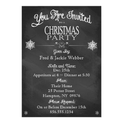 Christmas Party Vintage Chalkboard Invitation