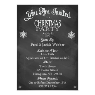 Christmas Party Vintage Chalkboard Invitation