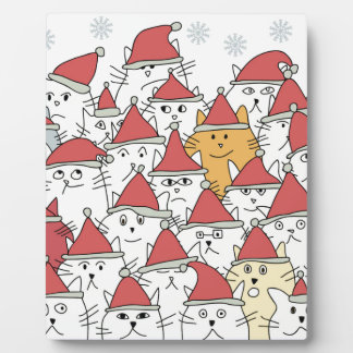 Christmas pattern with a lot of funny cats photo plaques