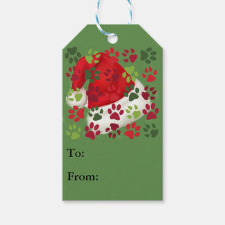 Christmas Paw Prints with Santa Hat Gift Tags
