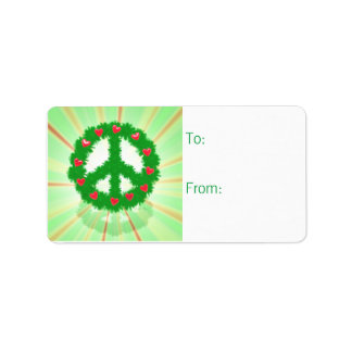 Christmas Peace Hearts Wreath Gift Tag Address Label