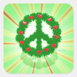 Christmas Peace Hearts Wreath Square Sticker