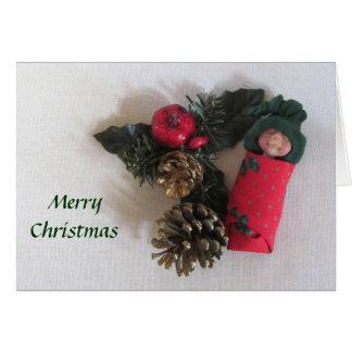 Christmas, Peace, Joy: Sleeping Clay Baby Card