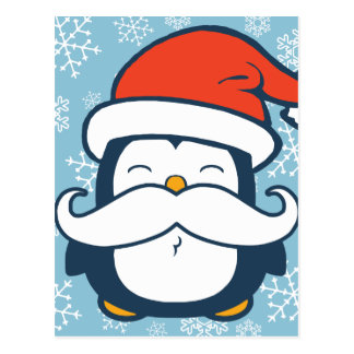 Christmas Penguin Mustache Trend Postcard