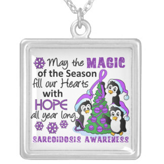 Christmas Penguins Sarcoidosis Square Pendant Necklace