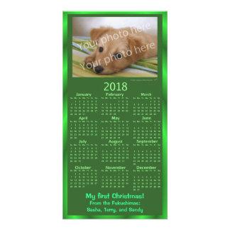 Christmas Pet Photo Card 2018 Calendar Green Xmas
