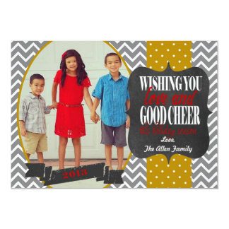 Christmas Photo Card with Chalkboard and Chevron