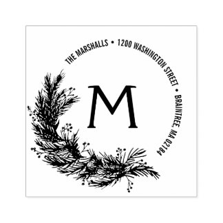 Christmas Pine Branches Monogram Return Address Rubber Stamp