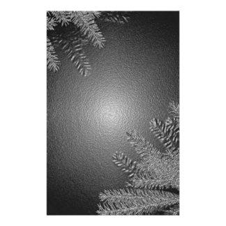Christmas Poinsettia Black And Grey Customized Stationery