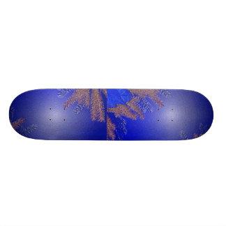 Christmas Poinsettia Blue Skateboard
