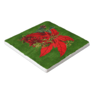Christmas Poinsettia Bouquet with Green Holiday Trivets