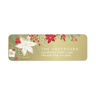 Christmas Poinsettia Faux Gold Foil Return Address