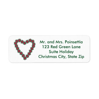 Christmas Poinsettia Heart Holiday Address Labels