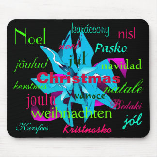 Christmas Poinsettia Light Blue Around The World Mouse Pads