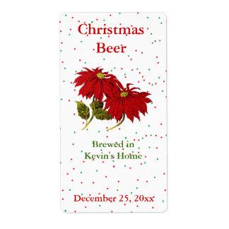 Christmas Poinsettia Mini Beer Label