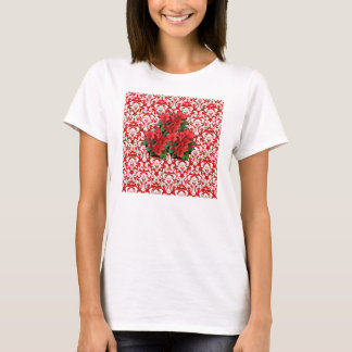 Christmas poinsettia red white damask tshirt