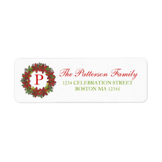 Christmas Poinsettia Wreath Monogram Address Label