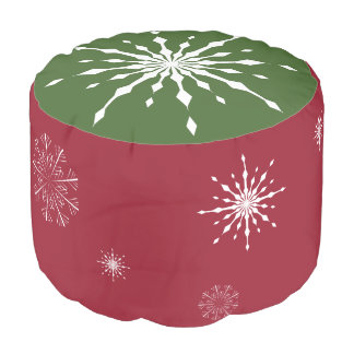 Christmas Pouf Red and Green with Snowflakes