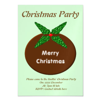 Christmas Pudding Custom Party Magnetic Invitations