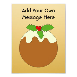 Christmas Pudding. Gold color background. Personalized Invitation