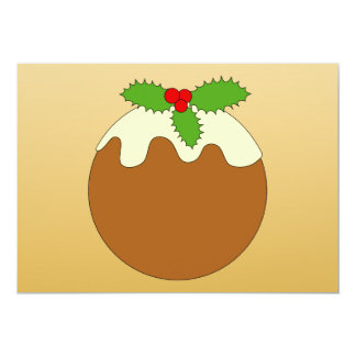 Christmas Pudding. Gold color background. Custom Announcements