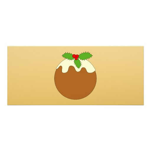 Christmas Pudding. Gold color background. Personalized Invitations