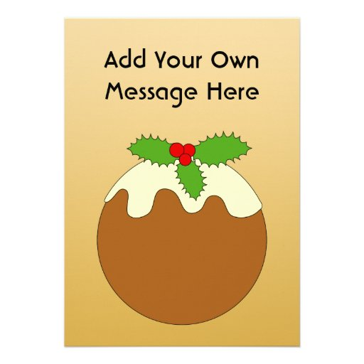 Christmas Pudding. Gold color background. Custom Announcement