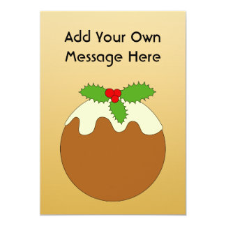Christmas Pudding. Gold color background. 13 Cm X 18 Cm Invitation Card