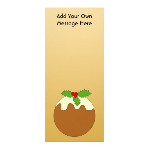 Christmas Pudding. Gold color background. Personalized Announcements