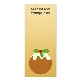 Christmas Pudding. Gold color background. 10 Cm X 24 Cm Invitation Card