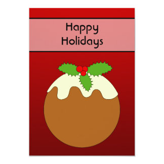Christmas Pudding. Happy Holidays. On Red 13 Cm X 18 Cm Invitation Card