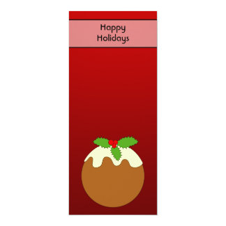 Christmas Pudding. Happy Holidays. On Red 10 Cm X 24 Cm Invitation Card