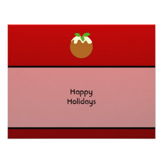 Christmas Pudding Happy Holidays On Red Custom Announcement