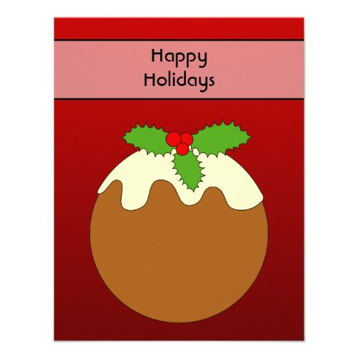 Christmas Pudding. Happy Holidays. On Red Custom Invitation