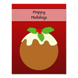 Christmas Pudding. Happy Holidays. On Red 11 Cm X 14 Cm Invitation Card