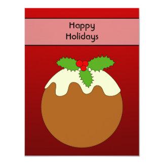 Christmas Pudding. Happy Holidays. On Red Custom Invitation