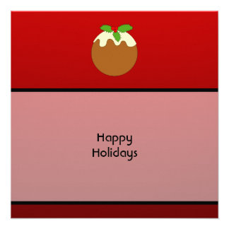 Christmas Pudding Happy Holidays On Red Personalized Announcements