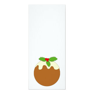 Christmas Pudding. White background. 4x9.25 Paper Invitation Card