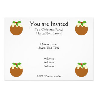 Christmas Pudding. White background. Personalized Announcement