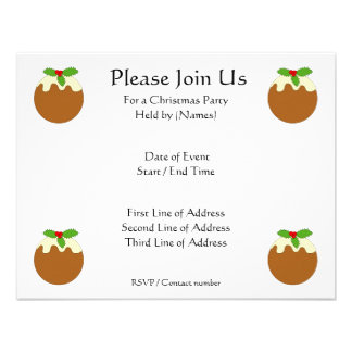 Christmas Pudding. White background. Invite
